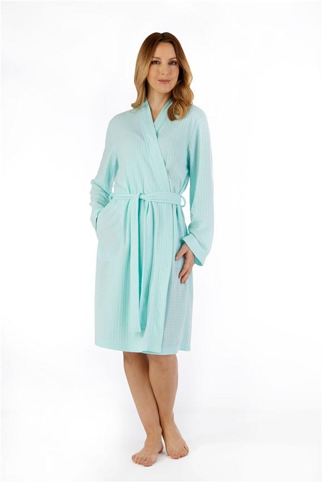 Dressing Gown Mint Green Waffle Print Slenderella
