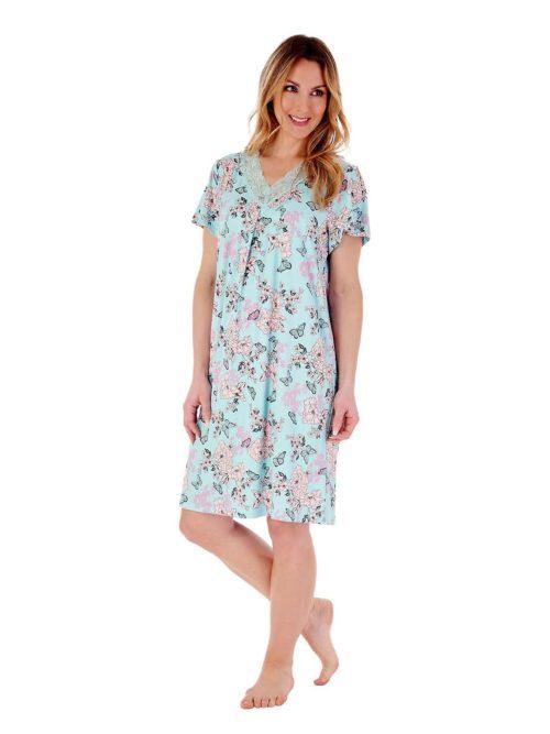Short sleeved Nightdress Slenderella Gaspe Aqua