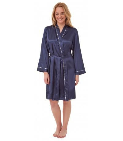 Satin Dressing Gown Navy Indigo Sky