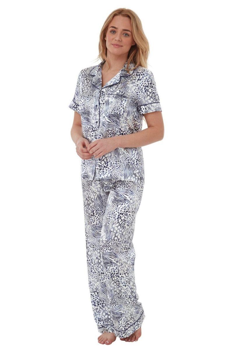 Satin Long Sleeve Pyjamas Animal Print Indigo Sky