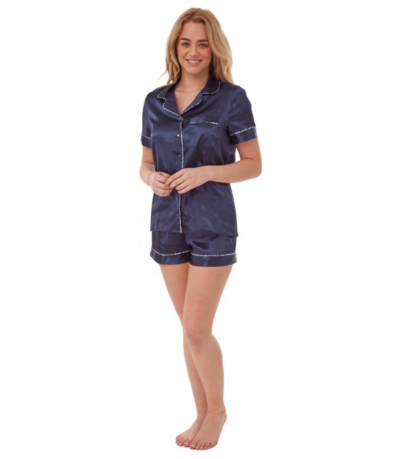 Satin Short Pyjamas Navy Indigo Sky