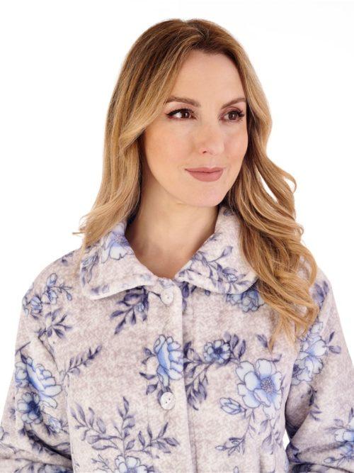 Floral Flannel Fleece 3/4 Sleeve Bed Jacket Slenderella Blue