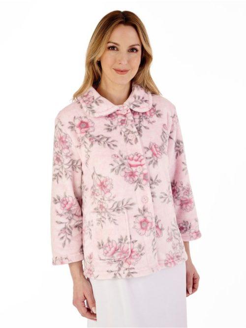 Floral Flannel Fleece 3/4 Sleeve Bed Jacket Slenderella Pink