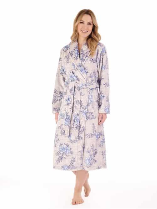 Blue Floral Slenderella Wrap Dressing Gown