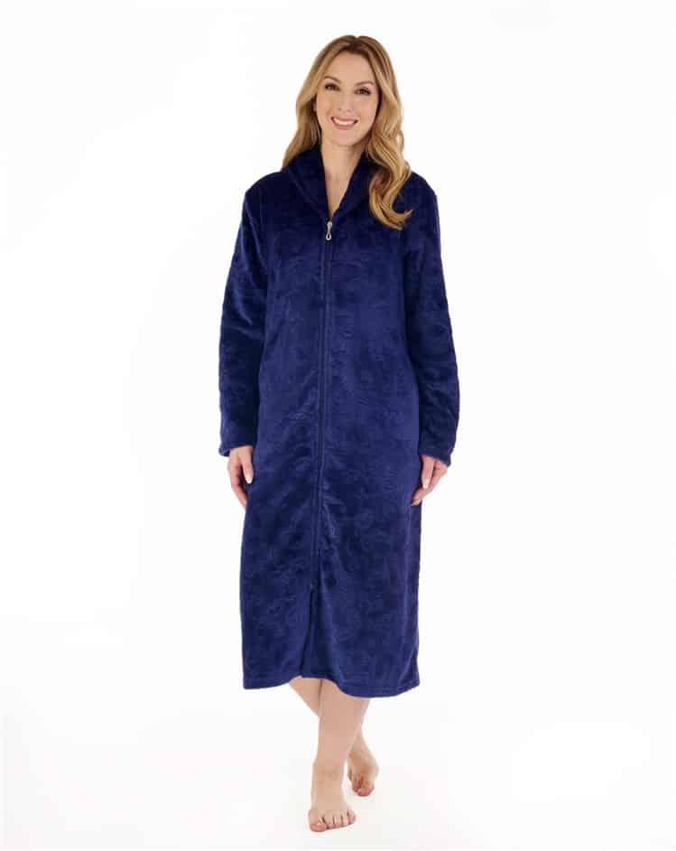 Zip Down Dressing Gown Navy Slenderella