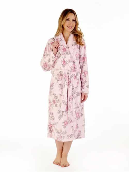 Pink Floral Slenderella Wrap Dressing Gown