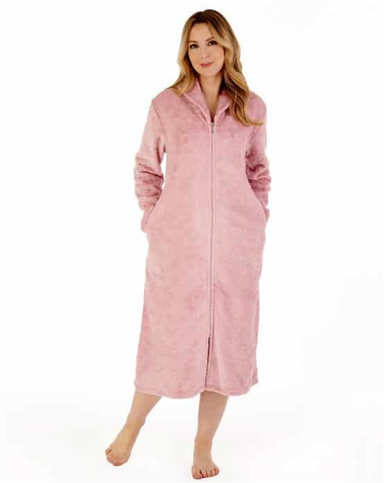 Zip Down Dressing Gown Pink Slenderella