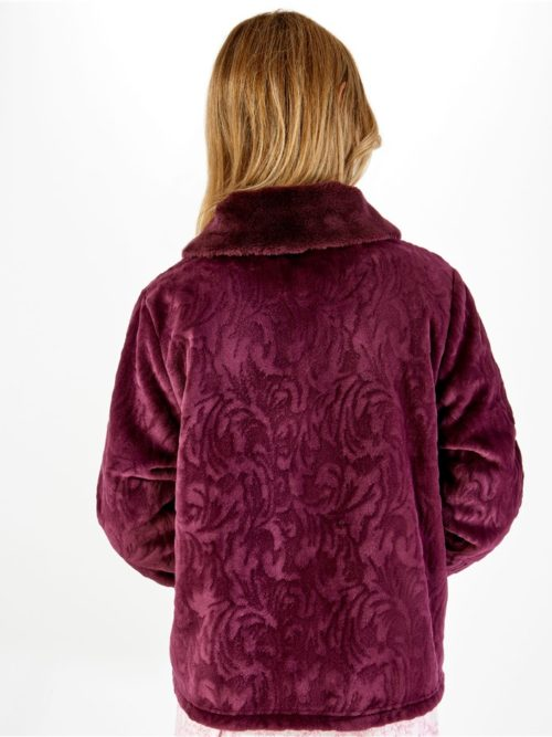 Patterned Faux Fur Collar Button Through Bed Jacket